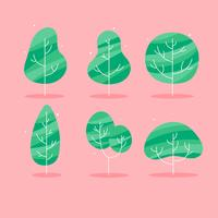 Simple Flat Tree Clipart Set Vector