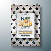 Ilustração 2018 do molde do cartaz da celebração do partido do ano novo com número do ouro brilhante no fundo preto e branco abstrato. Vector Flyer de convite Premium de férias ou Banner Promo.
