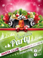 Vector Christmas Party design with holiday typographiy elements on shiny background.