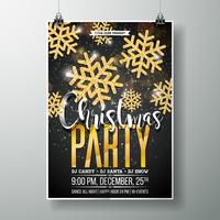 Vector Merry Christmas Party Poster Design Template with Holiday Typography Elements and Shiny Gold Snowflake on Dark Background.