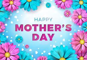 Conception de carte de voeux bonne fête des mères avec fleur et éléments typographiques sur fond bleu. Illustration de célébration vectorielle