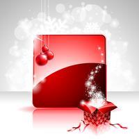 Weihnachtsillustration mit Geschenkbox auf rotem Hintergrund