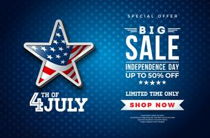 Fourth of July. Independence Day Sale Banner Design with Flag in 3d Star on Dark Background. USA National Holiday Vector Illustration with Special Offer Typography Elements for Coupon