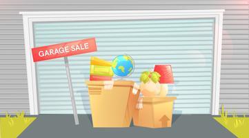 Garage försäljning, tecken med lådan nära en dörr Utanför ett hus