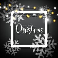 Weihnachtshintergrund mit Typografie und glänzender funkelnder Schneeflocke und Feiertagslicht-Girlande auf schwarzem Hintergrund. Vektor-Feiertags-Illustration