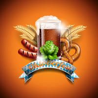 Oktoberfest vector illustration with fresh dark beer on orange background.