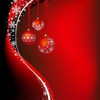 Ilustração de Natal com bola vermelha e flocos de neve