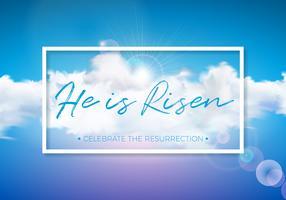Ilustração do feriado da Páscoa com a nuvem no fundo do céu azul. Ele está ressuscitado. Vector design religioso cristão para a ressurreição celebrar o tema.