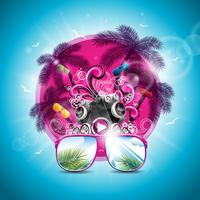 Illustration de vecteur vacances été sur un thème de musique et de fête avec haut-parleurs et lunettes de soleil
