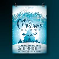 Vektor God juldesign med semester typografielement och mångfärgade prydnadsbollar på glänsande bakgrund. Celebration Fliyer Illustration. EPS 10.