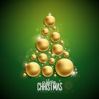 Vector el ejemplo de la Feliz Navidad y de la Feliz Año Nuevo con las bolas de cristal ornamentales del oro en fondo verde. Diseño de vacaciones para la tarjeta de felicitación, cartel, banner.