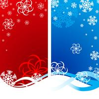 Christmas illustration with snowflakes on red and blue background.