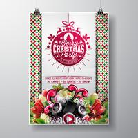 Vector Merry Christmas Party design with holiday typography elements and speakers on shiny background.