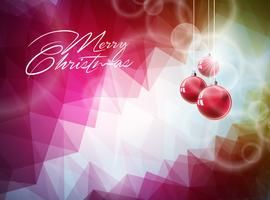 Vektor jul illustration med röd glasboll på abstrakt geometrisk bakgrund