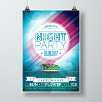 Vector Summer Night Party Flyer Design with paradise island on ocean landscape