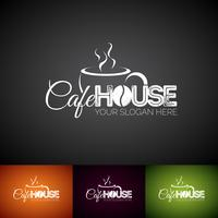Coffe Cup Vector Logo Design Mall. Set med Cofe Shop etikettillustration med olika färger.