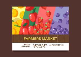 flyer design fruits agriculteurs marché vecteur