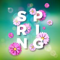 Vector Illustration on a spring nature theme with beautiful colorful flower on blurred landscape background. Floral design template with typography letter.