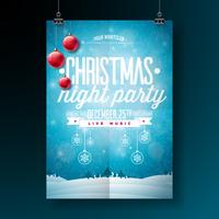 Vector a ilustração do inseto da festa de Natal alegre com elementos da tipografia e do feriado no fundo azul. Modelo de cartaz de convite de paisagem de inverno.