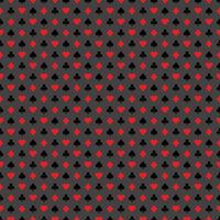 Vector seamless casino pattern illustration with playing card symbols on grey background.