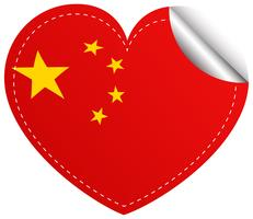 Flag icon design for China in heart shape