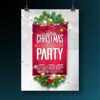 Vector Merry Christmas Party Design met vakantie typografie elementen en decoratieve bal, Pine Branch, verlichting Girland op rode achtergrond. Viering Flyer Illustratie. EPS 10.