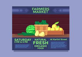 Paisagem Flyer Design Farmers Market Vector