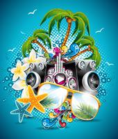 Vector Summer Holiday Flyer Design with palm trees and speakers on blue background