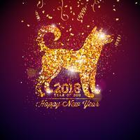 Illustration des Chinesischen Neujahrsfests 2018 mit hellem Symbol auf glänzendem Feier-Hintergrund. Jahr des Hundevektordesigns.