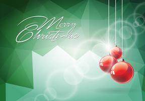 Vector Weihnachtsillustration mit roter Glaskugel auf abstraktem geometrischem Hintergrund