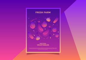 vector de mercado de agricultores vegetarianos flyer diseño