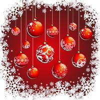 Illustrazione di Natale con palle rosse e fiocchi di neve
