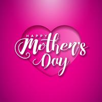 Happy Mothers Day Greeting card with hearth on pink background. Vector Celebration Illustration template with typographic design for banner, flyer, invitation, brochure, poster.