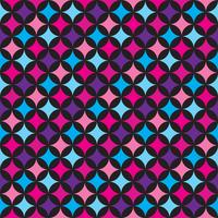 Vector seamless pattern illustration with blue and pink elements on black background.