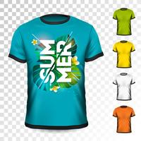 Design t-shirt Summer Holiday con foglie tropicali e fiori su sfondo trasparente. Modello di disegno vettoriale per abbigliamento con qualche variazione di colore.