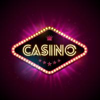 Casino Illustration with shiny lighting display and neon light letter on violet background. Vector gambling design with for invitation or promo banner.