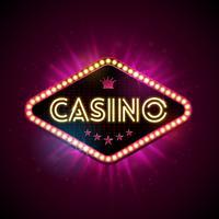 Ejemplo del casino con la exhibición de la iluminación brillante y letra de la luz de neón en el fondo violeta. Vector de diseño de juego con para la invitación o banner promocional.