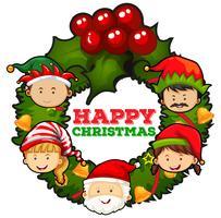 Diseño de tarjeta navideña con santa y muérdagos.