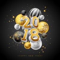 Ilustração do ano novo feliz 2018 com número do ouro 3d e bola decorativa no fundo preto. Vector Holiday Design para Premium Greeting Card, convite para festa ou Promo Banner.