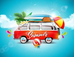 Vector Summer Holiday illustration on blue sky and cloud background. Tropical plants, flower, travel van, surf board and umbrella..