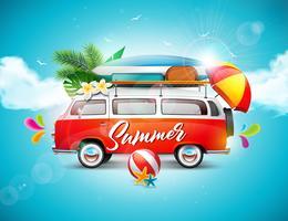Vector Sommerferienillustration auf Hintergrund des blauen Himmels und der Wolke. Tropische Pflanzen, Blumen, Reisewagen, Surfbrett und Regenschirm.