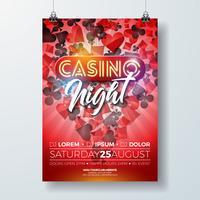 Vector la ilustración del aviador de la noche del casino con los elementos de juego del diseño y las letras brillantes de la luz de neón en fondo rojo. Plantilla de cartel de invitación de lujo.