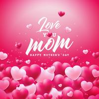 Happy Mothers Day Greeting card design with heart and Love You Mom typographic elements on red background. Vector Celebration Illustration