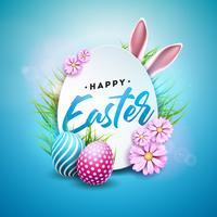 Vektorillustration av lycklig påskferie med målade ägg, kaninöron och blomma