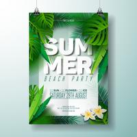Vector Summer Beach Party Flyer ilustración con diseño tipográfico en la naturaleza