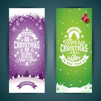 Vector Merry Christmas and Happy New Year greeting card illustration