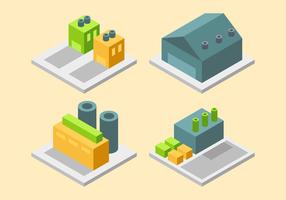 Amazing Isometric Industrial Buildings Set Vectors