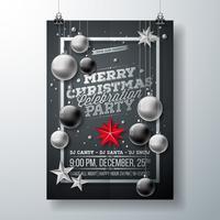 Vector el ejemplo del aviador de la fiesta de Navidad feliz con tipografía y los elementos del día de fiesta en fondo negro. Plantilla de cartel de invitación.