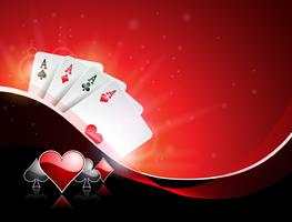 Vector illustration on a casino theme with playing suit and poker cards on red background. Gambling design for invitation or promo banner.