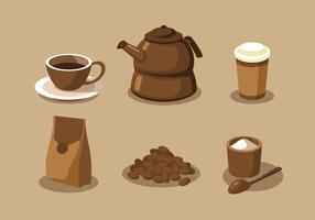 Coffee Elements Clipart Vector Set
